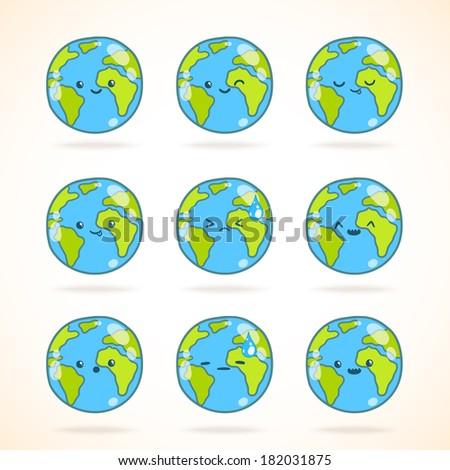 Cute funny cartoon Earth globe with face emotions set. Vector illustration.  - stock vector