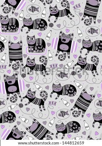 cute funny cats seamless background - stock vector