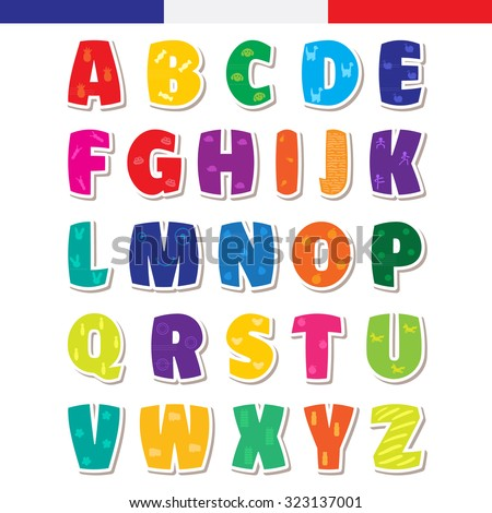 Cute funny childish french alphabet. Vector font illustration