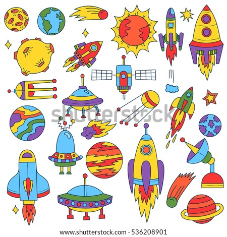 Cute Funny Childish Outer Space Symbols Stock Vector 536208901