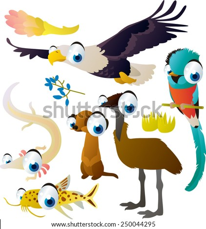 Cute funny comic cartoon vector big eyes animal set : eagle, quetzal, olm, meerkat, emu, catfish - stock vector