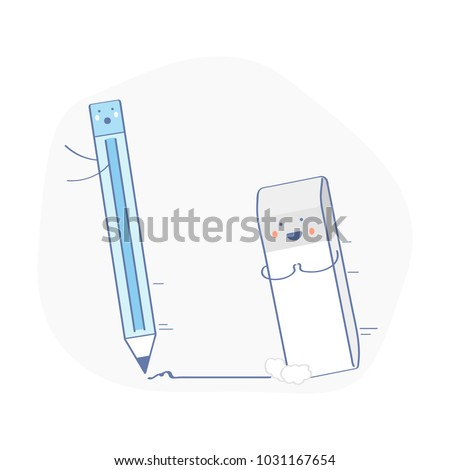 Cute Funny Eraser Chasing Pencil He Stock Vector 1031167654