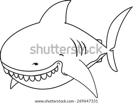 Cute funny looking Great white shark coloring book illustration - stock vector