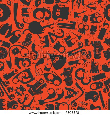 Cute Funny Monsters - seamless pattern. - stock vector