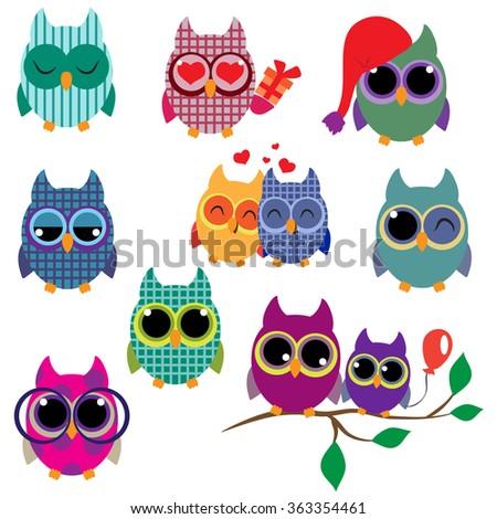 Cute funny owls - stock vector