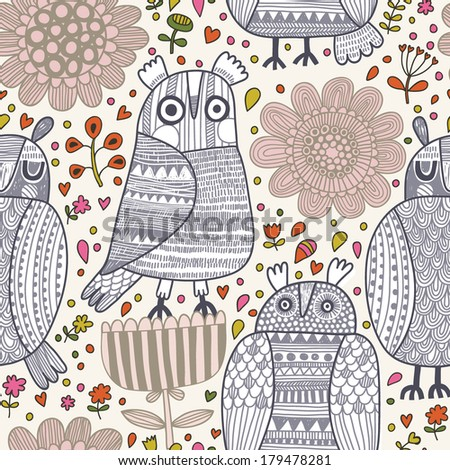 Cute funny seamless pattern with cartoon owls in flowers. Seamless pattern can be used for wallpaper, pattern fills, web page background, surface textures. - stock vector