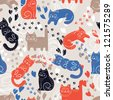 Cute funny seamless pattern with cats - stock photo