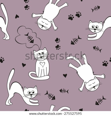 Cute funny seamless pattern with cats, fish skeleton and cat's trace - stock vector