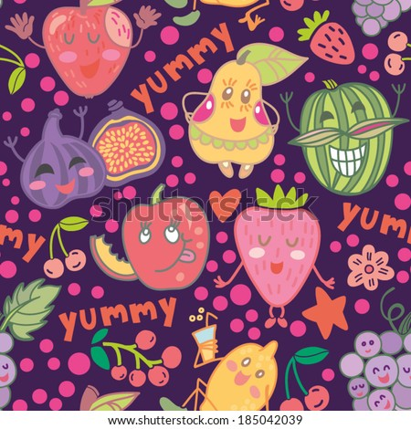 Cute Funny vector seamless pattern with fruits in bright colors.