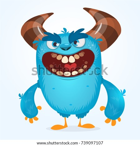 cute furry blue monster vector bigfoot stock vector hd royalty free rh shutterstock com