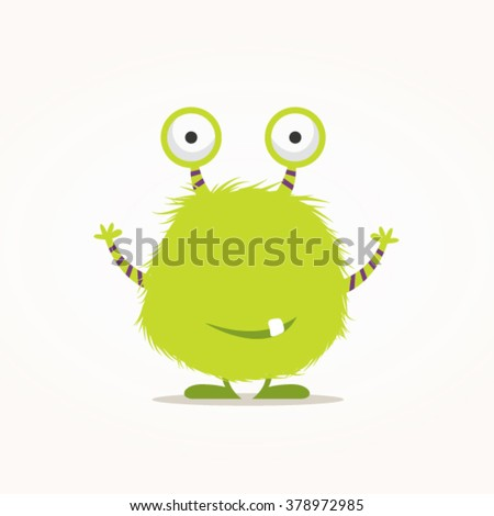 Cute furry monster vector illustration - stock vector