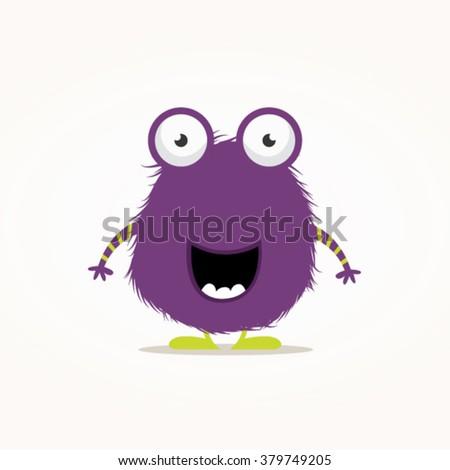 Cute furry monster vector illustration - stock vector