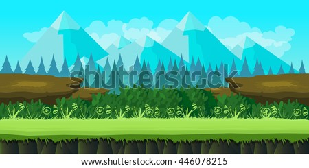 cute game background of mountains and grass - stock vector