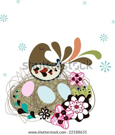 cute garden bird with eggs - stock vector