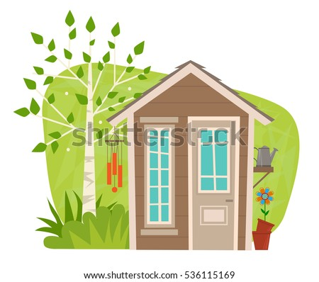 cute garden shed clipart of a small garden shed with tree wind