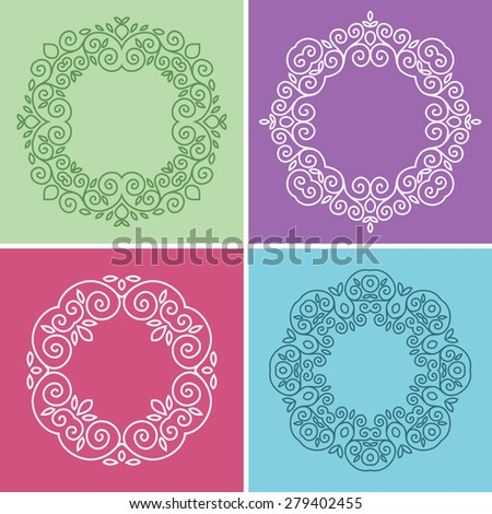 Cute 4 geometric floral frames in mono line style - stock vector