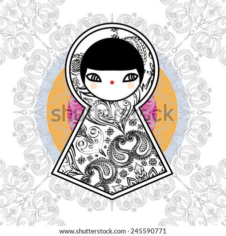 Cute Geometric Matryoshka Babushka Dolls - stock vector