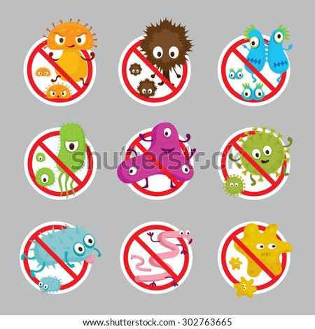 Cute Germ Characters Prohibition Sign, Bacteria, Virus, Microbe, Pathogen - stock vector