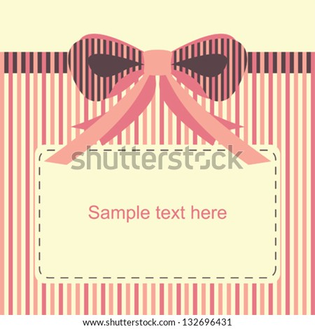 cute gift card with striped ribbon