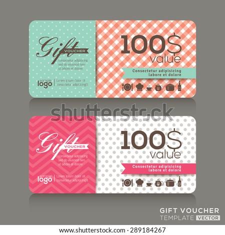 Cute Gift Voucher Certificate Coupon Design Stock-Vektorgrafik ...