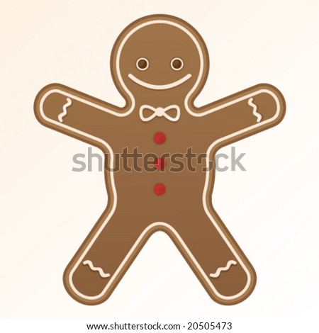 Cute gingerbread man cookie - stock vector