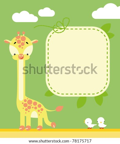 Cute giraffe and birds in cartoon style and blank sign for your message
