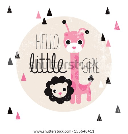 Cute giraffe and lion animal illustration hello baby girl birth announcement card template in vector  - stock vector
