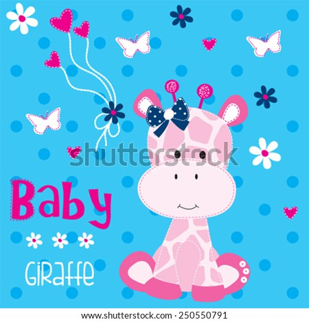 cute giraffe baby with butterfly vector illustration - stock vector