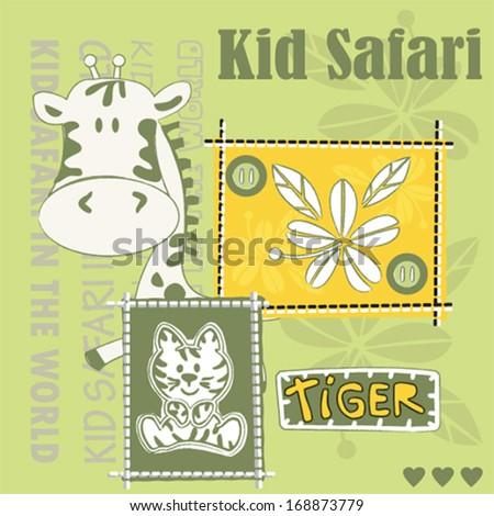 cute giraffe tiger kid safari vector illustration - stock vector