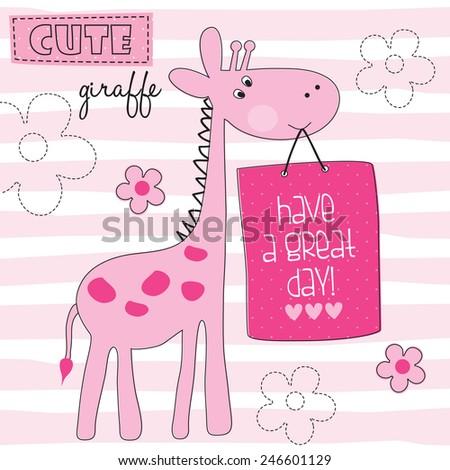 cute giraffe vector illustration - stock vector