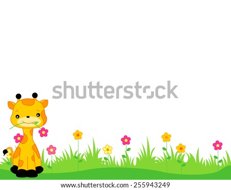 Cute giraffe with a flower on its mouth sitting on grass web page border / header / footer isolated on white background illustration - stock vector