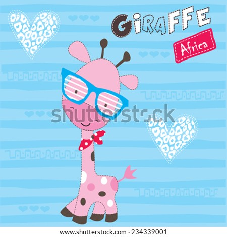cute giraffe with heart striped background vector illustration - stock vector