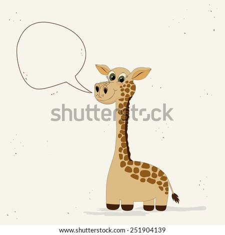 Cute giraffe with speech bubble - stock vector