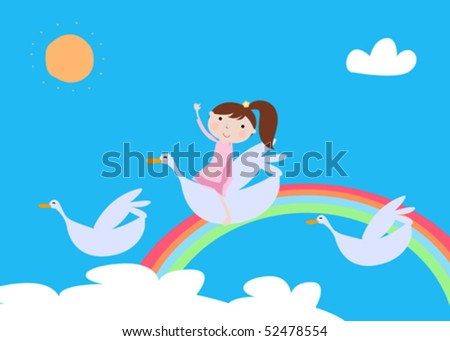 cute girl and bird - stock vector