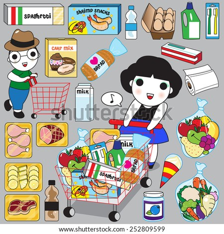 Cute Girl and Boy Go Grocery Shopping illustration set