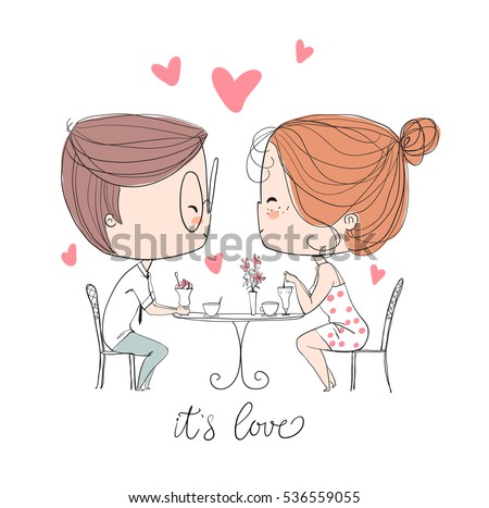 Cute girl and boy in cafe. Valentine's Day. Love card.