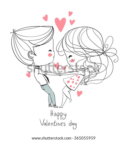 Cute girl and boy. Valentine's Day. Girl and boy holding hands. Love card. - stock vector