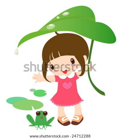Cute girl and frog - stock vector