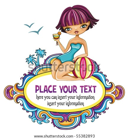 cute girl at the beach decorative frame - stock vector