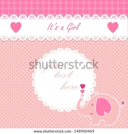 Cute girl baby   elephant announcement card. - stock vector