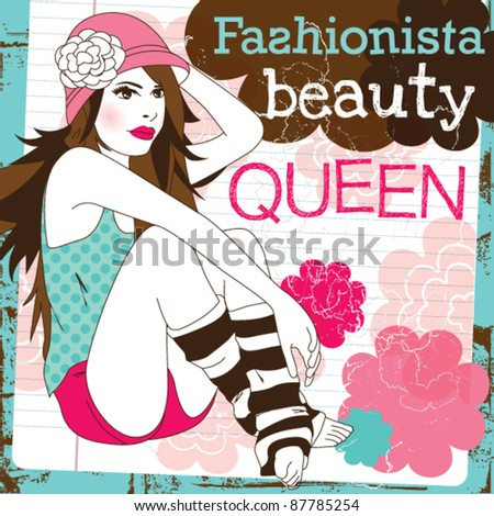 Cute girl beauty fashion model pose with trendy hat and striped socks illustration in vector - stock vector