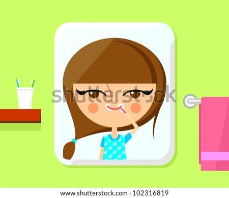 Cute girl brushing her teeth (vector version) - stock vector