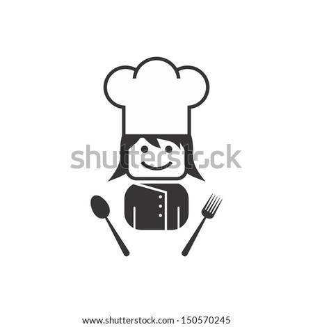 cute girl chef - stock vector