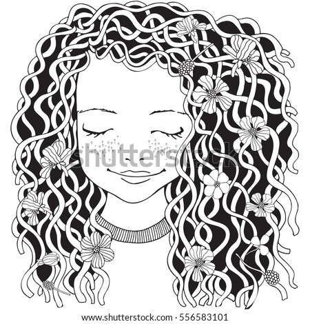 Cute Girl Coloring Book Page For Adult Hand Drawn Baby With Long Curly