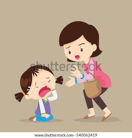 Cute girl crying and Her Mother Comforting Upset.cartoon vector illustration.child resistant.