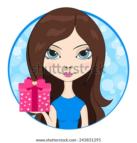 Cute girl give in hand a gift box. Vector Illustration.