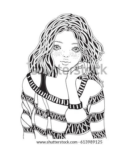 Cute Girl Coloring Pages Anxiety Relief Therapy  Apps on