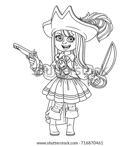 Cute Girl Pirate Costume Outlined Coloring Stock Vector (Royalty ...