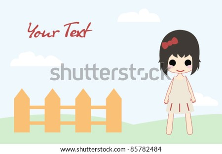 Cute girl in simple style - stock vector