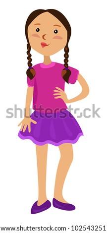 cute girl in skirt - vector illustration - stock vector